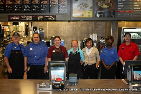 The crew at the Riverside Drive McDonald's reopening. Jeff Hastings, Toafa Horton (Store Manager), Sheryl Easton, Rebecca Shattuck, Arleen Reed, Cynthia Snipes, and Dawn Holland.