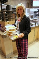 APSU student Bailey Bomar with breakfast for her and a friend shortly after the dining room opened early at 4:00am