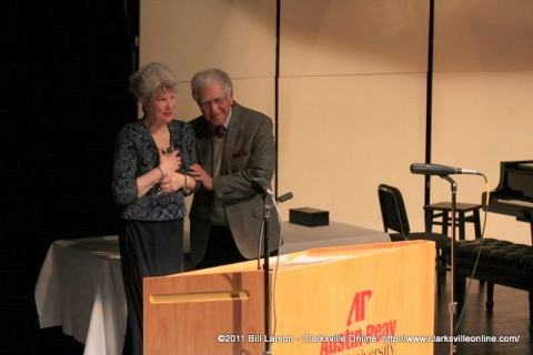Dr. Anne Glass after bring presented with the George Mabry Award by Soli Fott