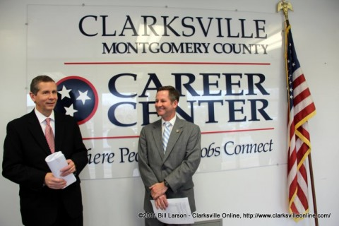 State Senator Tim Barnes and State Representative Joe Pitts talk about their bill at the Montgomery County Career Center in Clarksville, TN