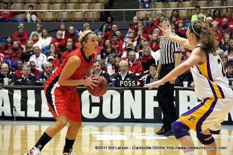 Junior Whitney Hanley scored 12 points in the Lady Govs loss to Tennessee Tech, Friday.