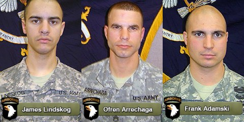 James Lindskog, Ofren Arrechaga and Frank Adamski were killed March 29th by small arms fire.