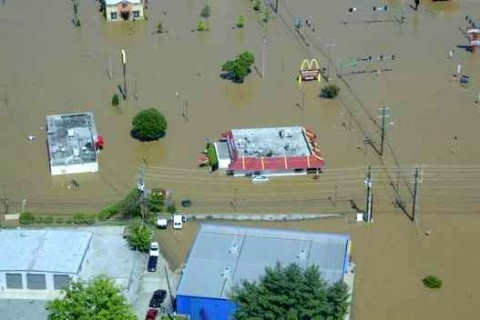 An aerial view of the Riverside Drive McDonalds underwater during the Great Flood of 2010 (Larson Enterprises)