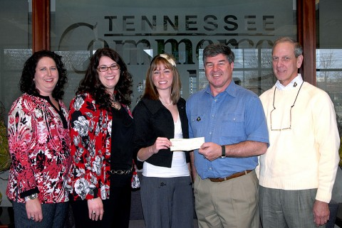(Left to Right) Beth Poppas, wife of the commander of the 1BCT, 101st Airborne Division; Karen Perez, Ft. Campbell Spouses Club;  Megen Roberts, Ft. Campbell Spouses Club; John Burns, Rotary member and Air Force veteran; and Frank Emerson, Rotary member and Navy veteran.  Monies raised at VICE Night are used to assist military families at Fort Campbell and in the greater Clarksville area.