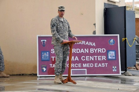 U.S. Army Lt. Col. David Womack, commander of Task Force Red Currahee, 1st Battalion, 506th Infantry Regiment, 4th Brigade Combat Team, 101st Airborne Division, speaks at the opening of the Spc. Jordan Byrd Trauma Center at Forward Operating Base Sharana March 1st. (Photo by U.S. Army Sgt. Christina Sinders, Task Force Currahee Public Affairs)