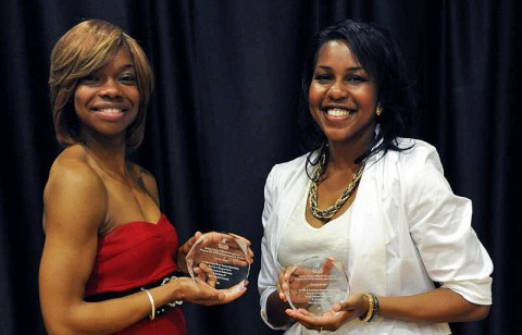 Ashley Carson, left, and Courtney Jordan have been recognized for their on-campus leadership by the African American Cultural Center. (Austin Peay Sports Information)