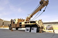 The M1249 military recovery vehicle is on display during its debut at Bagram Airfield March 14th. The U.S. military has ordered 250 of these wreckers to replace the current wrecker in Afghanistan. The MRV has the ability to recover any military vehicle that is damaged or stuck, including the Mine-Resistant Ambush-Protected vehicles, which are some of the heaviest vehicles currently used. (Photo by U.S. Army Sgt. Scott Davis, Combined Joint Task Force-101 Public Affairs)