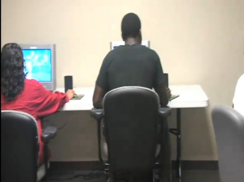 Students participating in the Internet scavenger hunt