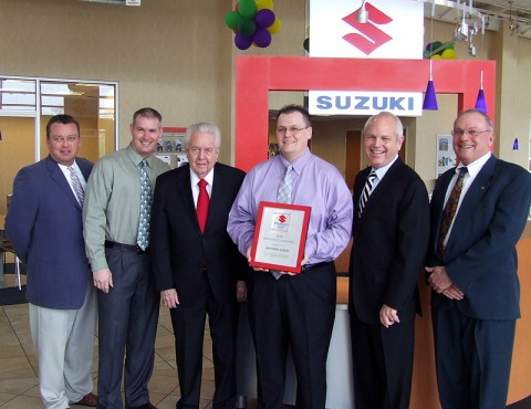 (L-R) David Carson, General Manager for Mathews Suzuki; Derek Davis, Finance Manager; Gary Mathews, partner for Mathews Nissan Suzuki; Matt Hall, New Car Sales Manager for Mathews Suzuki; O.B. Garland, Vice President of Mathews Nissan Suzuki; and Ron Reinhard, General Manager for Mathews Nissan Suzuki.