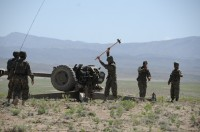 Afghan National Army artillery soldiers secure a D-30 122 mm Howitzer in preparation for a live-fire exercise April 26th in Paktika Province, Afghanistan. (Photo by U.S. Army Spc. Kimberly K. Menzies, Task Force Currahee Public Affairs)