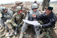 U.S. Army Lt. Col. Darrin C. Ricketts, deputy commander of 4th Brigade Combat Team, 101st Airborne Division, U.S. Army Lt. Col. Donn H. Hill, commander of Task Force White Currahee, 101st Airborne Division and U.S. Army Brig. Gen. John Uberti, deputy commanding general of Afghan Development, speak with an Afghan National Army commander for Naka district, Afghanistan, during Operation Overlord, April 14th. (Photo by U.S. Army Spc. Zachary Burke)