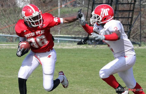 Wide receiver Robert Lemon (86) breaks free en route to a 60-yard TD catch and run, Saturday morning, at Morgan Brothers Soccer Field. (Austin Peay Sports Information)