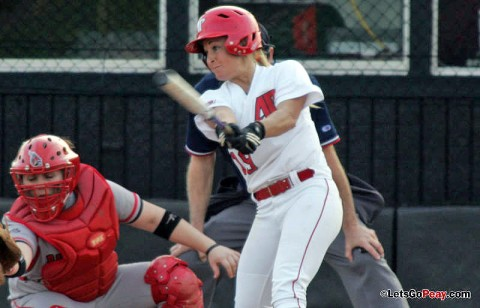 Red-shirt sophomore Jessica Ryan had four hits in doubleheader, including her fourth home run of the season in Game 1. (Austin Peay Sports Information)