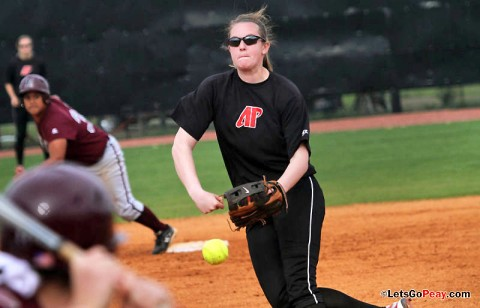 Junior Morgan Brewer limited Jacksonville State to five hits in nine innings, in a 1-0 loss. (Austin Peay Sports Information)