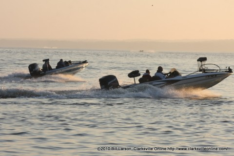 Boats heading out at the start of last years Governors Bass Tournament.