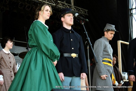 "The cast of ""The Civil War"" performs at the Rivers & Spires Festival."