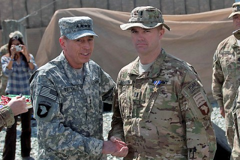 U.S. Army Gen. David H. Petraeus, International Security Assistance Forces commander, awards a Silver Star Medal to U.S. Army Capt. Edward B. Bankston, Headquarters and Headquarters Company commander from Decatur, GA, at Forward Operating Base Joyce in eastern Afghanistan's Kunar Province April 11th. Bankston was awarded the medal for his actions during Strong Eagle III in Marawara District. (Photo by U.S. Army Sgt. 1st Class Mark Burrell, Task Force Bastogne Public Affairs)