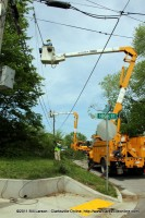 CEMC Power crews in Clarksville assisting CDE with restoring power to city residents after the April 19th Storm