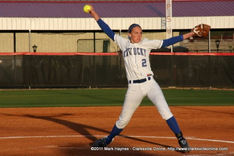 University of Kentucky Pitcher Chanda Bell firing one of her blasts towards the APSU Lady Govs Softball team