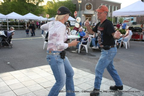 A couple dances to the music of the Groovefellas at the Patchwork Premier