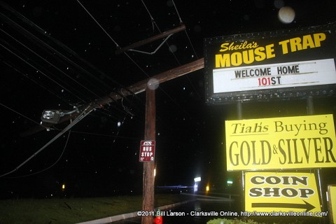 A utility pole was snapped in half by the straight line winds in the storm last night