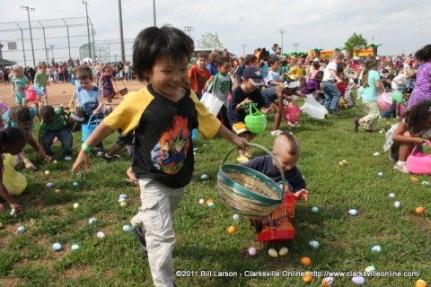 Kids scoop up Easter Eggs at the City of Clarksvile's Spring Eggstravaganza