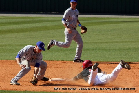 Rolando Gautier steals second base in the first game against Eastern Illinois on Saturday
