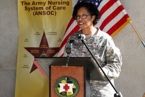 "During the Army Nursing System of Care kickoff ceremony April 6 at Blanchfield Army Community Hospital, Deputy Commander for Nursing Col. Joy Napper speaks to attendees about the standards within the new program. ""Enhancing nursing excellence and standards in the delivery of quality care will contribute to positive patient outcomes for Soldiers and their Families,"" said Napper."