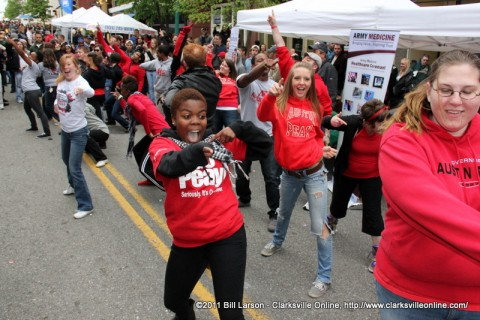 The APSU Flash Mob performing on Franklin Street