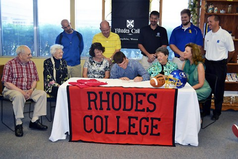 Josh Jerles signing with Rhodes College.