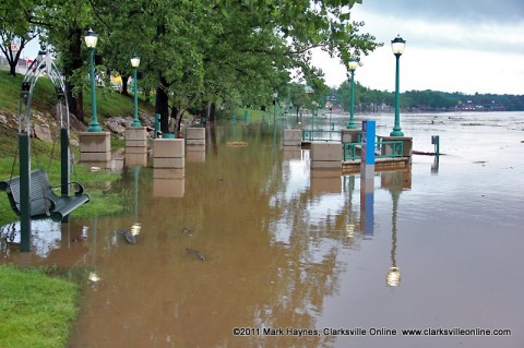The Cumberland River is up and over parts of McGregor Park and the Riverwalk.