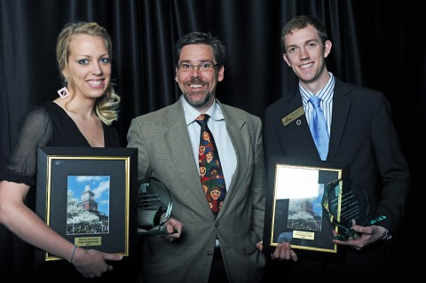 Seniors Kenneth Kennedy (left), of Clarksville, and Paige Rasmussen, of McKenzie, were named Mister and Madam Governor. The Mister Governor and Madam Governor Awards, presented by APSU Provost Dr. Tristan Denley, honor graduating students who have contributed to the University community through leadership, diversity and service and have participated in leadership roles on campus while maintaining high academic standards. (Photo provided by APSU Student Affairs)