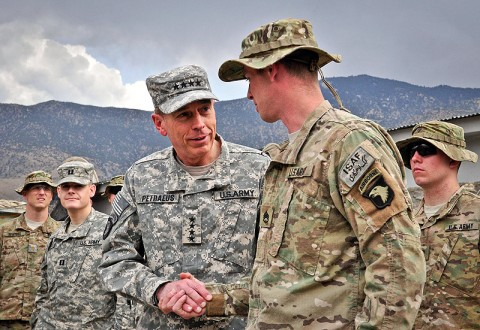 U.S. Army Gen. David H. Petraeus, International Security Assistance Force and U.S. Forces – Afghanistan commander, commends U.S. Army Staff Sgt. Jimmy Schumacher of Taloma, TN, Company A, 1st Battalion, 327th Infantry Regiment, 1st Brigade Combat Team, 101st Airborne Division, at Combat Outpost Honaker-Miracle in the Pech River Valley March 31st. (Photo by U.S. Army Capt. Jonathan J. Springer, Task Force Bastogne)