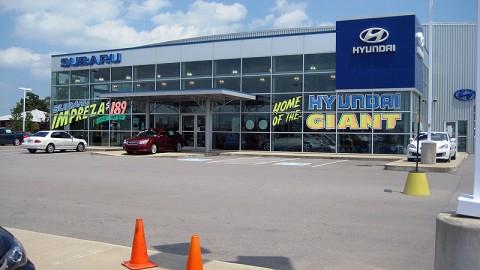 The Wyatt Johnson Subaru-Hyundai dealership on Wilma Rudolph Blvd.