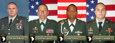 Charles Adkins, Cynthia Taylor, Linda Pierre, and Joseph Cemper were killed April 16th during a suicide attack in Afghanistan.