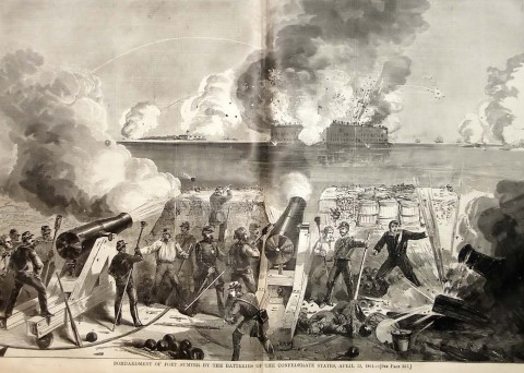 Depiction of the Fort Sumter attack on April 13, 1865 shown in Harper's Weekly newspaper.