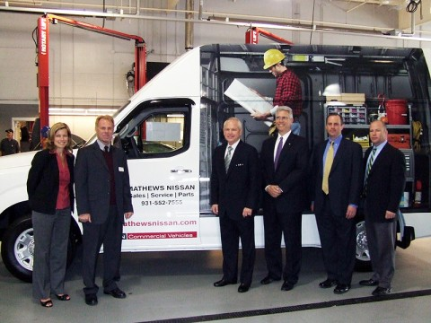 (L-R) Cristi K. Brown, senior manager Fleet and Commercial Vehicle Marketing; Mark Namuth, senior manager Dealer Commercial Sales; O.B. Garland, Vice President of Mathews Nissan; Joe Castelli, Vice President Commercial Vehicle and Fleet; Michael Keleher, senior project manager Commercial Vehicle and Fleet; and Patrick Byrnes, regional Commercial Operation Manager.