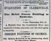 Image of surrender of Clarksville headline from a period newspaper (Timothy Hughes Rare & Early Newspapers)