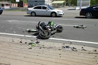 Honda motorcycle collided with a GMC Sierra. (Photo by Jim Knoll)