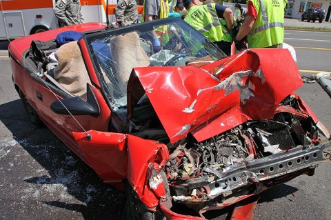 Multiple car crash sends two to the hospital. (Photo by Jim Knoll)