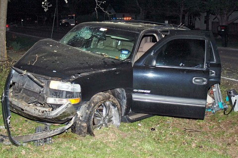 Chevy Tahoe crashed into a tree off Pembroke Road. (Photo by Officer John Reyes)