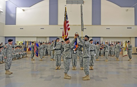 The 101st Combat Aviation Brigade uncase their battalion and brigade Colors at Fort Campbell, KY, May 12th 2011. (Photo by Sgt. 1st Class Sadie Bleistein)