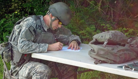 Sgt. Joshua Kakuk, an aircraft armament system repairer with 3rd Battalion, tests on a unit operations task during the command's annual Noncommissioned Officer and Soldier of the Year Competition. (160th Special Operations Aviation Regiment photo)