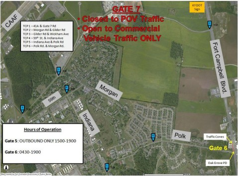 Flooding related traffic control point locations and gate schedules on Fort Campbell