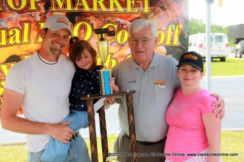 The BBQ Bunch won 1st place in the ribs category. (L to R) Mike Johnson, Melody Johnson, Wayne Hall and Janet Johnson.
