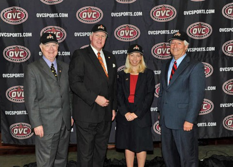 The OVC announced the addition of Belmont University to the league on Friday. Pictured (L to R) Belmont President Dr. Bob Fisher, UT Martin Chancellor Dr. Tom Rakes, OVC Commissioner Beth DeBauche, and Tennessee Tech President Dr. Robert Bell. (Ohio Valley Conference)