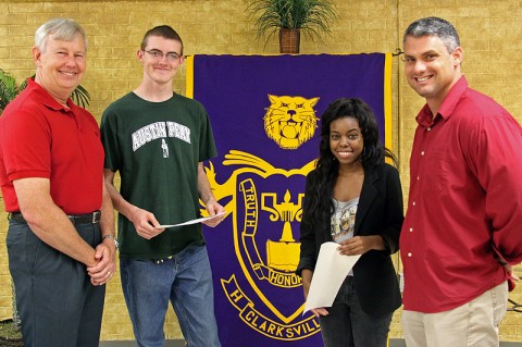 Bill Summers (left) presents scholarship certificates to Austin Pitts and Alexis Bynum as CHS Spanish teacher and HOPE Club advisor Danny Magrans looks on.