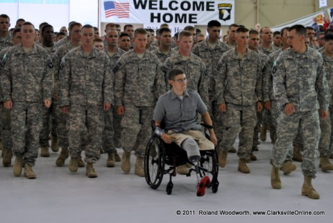 2nd Brigade Combat Team Soldiers Returning From Afghanistan led in by Wounded Soldiers