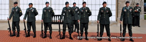 Soldiers standing at Parade Rest at the funeral for SGT John Paul Castro