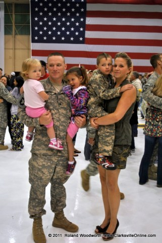 SGT Jeremy Barts with his wife Ashley and children Kye, Kylie and Kynzie
